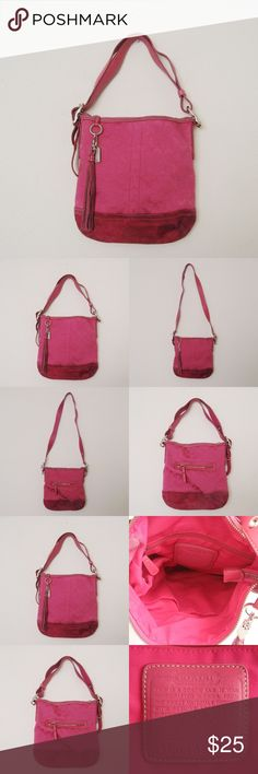 "Coach L045-9362 Convertible Bag Authentic COACH L045-9362 Hot Pink Convertible Bag. Good to satisfactory condition. Inside lining is perfectly clean. Bottom suede part of the bag is BADLY SOILED/WORN. Please see photos carefully before buying. You will get exactly as pictured. Dimensions: 11""H x 10.5""W, strap drop 8-20"" ⚜❌SWAP❌TRADE ⚜✔BUNDLES📦 ⚜✔Smoke-free/Pet-free home Coach Bags Shoulder Bags"