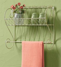 Songbird Shelf with Towel Bar from Country Porch Home Decor for kitchen or bath.... check out our other vintage wire accessories for your home.