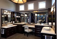 his hers bathroom with traditional design