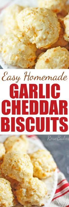 Easy Homemade Garlic Cheddar Biscuits - Rose Bakes #bread #biscuits #cheddar #garlic #cheddarbiscuits
