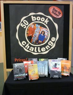 Library Displays=We should do this for the end of the next school year through Octoberish. Give students 6 or 7 months to turn in reading logs and short form about each book. Reward top two readers with gift certificates and maybe a pizza party for all who hit 50.