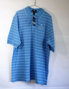 Vantage Men's L Blue Striped Polo Golf Short Sleeves Shirt Stanford Cup NWT #Vantage #PoloRugby