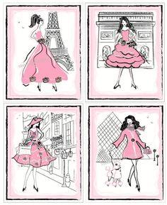 Paris Art Girls Fashionista Art Prints by sweetpeasartstudio2
