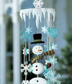 Outdoor Christmas Decoration Ideas - Snowman Wind Chimes - Click Pic for 20 Front Porch Christmas Decorating Ideas
