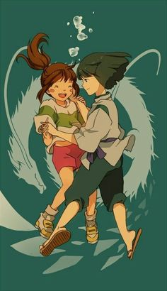 Haku & Chihiro {Spirited Away} These two. They are so perfect. Just as good together as Ponyo and Sosuke (which is REALLY saying something. Animated Movies, Animation, Japanese Animation, Art, Studio Ghibli Movies, Cartoon, Anime Movies