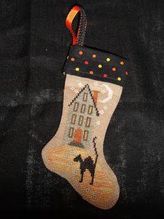 cross stitch Haunted House Halloween stocking ornament