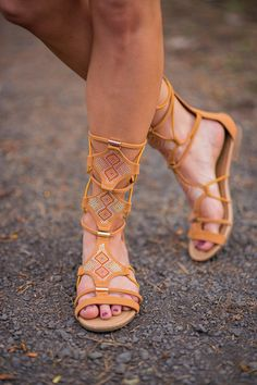 Bling Bling Strappy Tan Gladiator Sandals - NanaMacs.com #summer #style #sandals