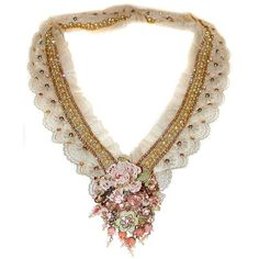 Michal Negrin Baroque Lace Marie Necklace ($799) ❤ liked on Polyvore featuring jewelry, necklaces, michal negrin necklace, baroque necklace, lace jewelry, baroque jewelry and michal negrin
