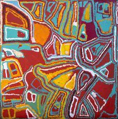 Mabel Wakarta - Yirajarra camp - 183 x 183 cm - 14-344 http://www.aboriginalsignature.com/martumiliartpeintureaborigene/mabel-wakarta-yirajarra-camp-183-x-183-cm-14-344