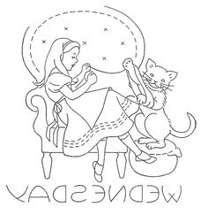Embroidery transfer design.  Days of the Week.  DOTW.  Wednesday.  Alice in Wonderland.  Dinah.