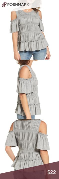 NWT ruched cold shoulder shirt Brand new, with tags, super cute and comfortable, still in bag love, fire Tops