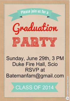 Save Money with These Free, Printable Graduation Invitations: Greeting Islands' Free Graduation Party Invitation