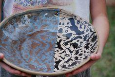 Large ceramic bowl housewarming gift Woodland animals