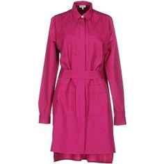 Kenzo Short Dress ($365) ❤ liked on Polyvore featuring dresses, fuchsia, long sleeve mini dress, fuchsia dress, short dresses, fuchsia pink dress and shirt dress