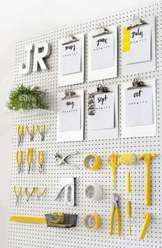 37 Astonishing Pegboard Design Ideas For All Your Needs To Try Asap - Pegboard is a great material for keeping tools, accessories, gadgets and other supplies handy and well-organized. Because you can customize a pegboard. Pegboard Organization, Office Organization, Ikea Pegboard, Painted Pegboard, Kitchen Pegboard, Organizing Life, Black Pegboard, Pegboard Craft Room, Pegboard Display