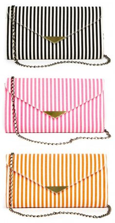 "The pink/orange are like sherbet...but I'm always a sucker for black + white. Not crazy about the brass color of the hardware. I'd prefer straight-up ""gold""/""silver."" Painting it a funky color (citrine?) might work. / canvas stripe clutch(or)crossbody / 29.95 // Sole Society"