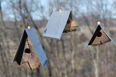 Rustic Wood Birdhouse Design Ideas, Natural Choices for Feathered Friends Contemporary Birdhouses, Modern Birdhouses, Homemade Bird Houses, Bird Houses Diy, Ceramic Roof Tiles, Ladybug House, Wood Stumps, Birdhouse Designs, Diy Birdhouse