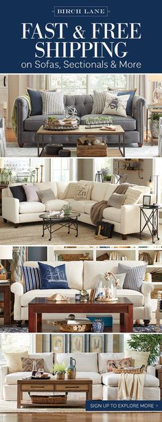 Birch Lane's selection of upholstered sofas offers an option for every taste, from traditional and skirted to sleek and angular. Button tufting, turned legs, slipcovers, rich leather…it's all here. A variety of leather and fabric options to let you select a color and pattern that best fits your space. Sign up to receive our emails and find out more about Birch Lane's custom upholstery program, along with updates about exclusive sales. And, as always, all orders over $49 ship FREE.