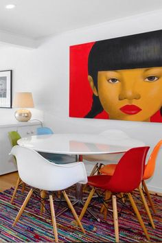 Clever use of colour in the staging of this house with chairs to match the art #homestaging #decor #interiordesign Home Staging, Eames, Clever, Chairs, Dining Room, Colour, Interior Design, House, Furniture