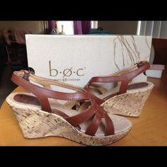👡👡Born Concept Wedges👠👠 B.O.C Born Concept tan saddle wedge. Size 9 M/W. Brand new. Original Box. B.O.C Born Concept Shoes