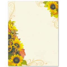 Stationary Printable, Printable Lined Paper, Borders And Frames, Borders For Paper, Frame Floral, Sunflowers And Daisies, Book Background, Sunflower Wallpaper, Print Box