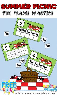 Ants At The Picnic Preschool 10 Frame Counting Activity Free Printable for Kindergarten and Preschool for Math Centers Picnic Activities, Counting Activities, Preschool Activities, Summer Preschool Themes, Train Activities, Preschool Printables, Summer Activities, Family Activities, Preschool Centers