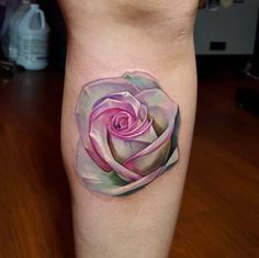 Rose Tattoo on Leg by Tyler Malek