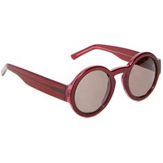 Marni Circular Framed Sunglasses ($335) ❤ liked on Polyvore featuring accessories, eyewear, sunglasses, glasses, fillers, lunettes, burgundy, circular glasses, circular sunglasses and circle glasses
