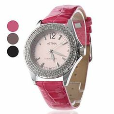 Tanboo Women's Elegant Diamond PU Analog Quartz Wrist Watch (Assorted Colors) by Tanboo. $14.99. Women's Watche. Casual Watches. Wrist Watches. Gender:Women'sMovement:QuartzDisplay:AnalogStyle:Wrist WatchesType:Casual WatchesBand Material:PUBand Color:Rose, Brown, BlackCase Diameter Approx (cm):4Case Thickness Approx (cm):0.8Band Length Approx (cm):19Band Width Approx (cm):1.8