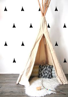 Gorgeous tipi walls and tipi w sophisticated decor. #estella #kids #decor