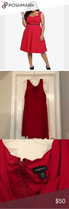 Red torrid cocktail dress. Size 26 This is a beautiful red torrid cocktail dress. Worn twice... only getting rid of this because I've lost weight and it's too big. It's so gorgeous!! torrid Dresses Midi