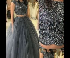 2019 Aso Ebi Arabic Gray Luxurious Two Pieces Evening Dresses Beaded Crystals Prom Dresses Tulle Formal Party Second Reception Gowns Dress Two Piece Evening Dresses, Evening Gowns, Beaded Prom Dress, Tulle Dress, Dress Prom, Indian Designer Outfits, Designer Dresses, Prom Dresses Under 100, Formal Dresses