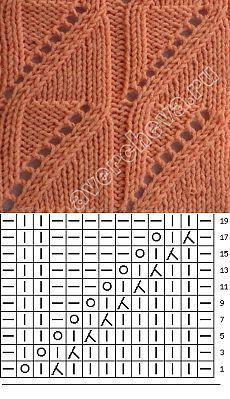 узор 61 | каталог вязаных спицами узоров