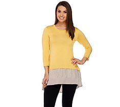 LOGO by Lori Goldstein Petite Knit Top with Lace and Satin Hem