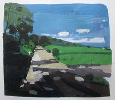 The Way Out Original Spring Landscape Collage Painting by Paintbox