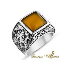 #jewellery Hand Made Silver Man Ring Square Amber Ivy  #jewelry #ottoman
