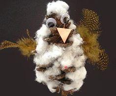Craft: Pinecone Cotton Owls