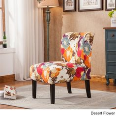 Roundhill Furniture Capa Print Fabric Armless Contemporary Accent Chair Desert Flower Home Decorations
