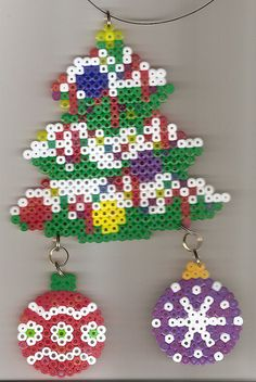 Perler Christmas Tree with Ornaments by margieelisabeth