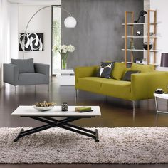 Opt for furniture in contemporary shapes Sofa, Couch, Scandi Style, Living Room Designs, Home And Garden, Contemporary, Interior, Shapes, Magazine