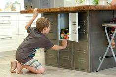 Rebecca Brown home tour. Coolest kitchen island with locker-style storage beneath. --> Looking for lockers like this for boy's storage Repurposed Furniture, Industrial Furniture, Diy Furniture, Repurposed Lockers, Office Furniture, Rebecca Brown, Kitchen Design, Kitchen Decor, Quirky Kitchen