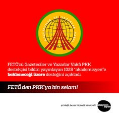 """FETÖ'cü Gazeteciler ve Yazarlar Vakfı PKK destekçisi bildiri yayınlayan 1028 """"akademisyen""""e bekleneceği üzere desteğini açıkladı.  FETÖ den PKK'ya bin selam!"""