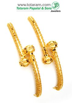 22K Fine Gold Baby Bangles - Set of 2 (1 pair) - B-GBL466 - Indian Jewelry from Totaram Jewelers