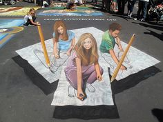 3d streetpainting created with chalk pastels on pavement at the Santa Barbara I Madonnari Festival, 2011. www.tracyleestum.com - more at www.streetart.nl #3d #streetart