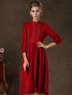 Shop Wine Red Long Sleeve Vintage Pleated Dress online. Sheinside offers Wine Red Long Sleeve Vintage Pleated Dress & more to fit your fashionable needs. Free Shipping Worldwide!