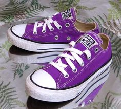 CONVERSE ALL-STAR PURPLE CANVAS SNEAKERS LOW TOP FASHION SHOES US YOUTH SZ 11 #Converse #WalkingShoes