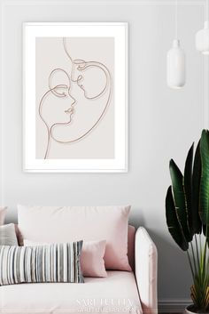 Modern one line art, Beige minimalist portrait wall art, Single line couple poster, Silhouette line drawing, Continuous abstract line art Free Art Prints, Modern Art Prints, Modern Wall Art, Wall Art Prints, White Lotus Flower, Portrait Wall, Romantic Home Decor, Abstract Line Art, Floral Wall Art