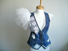 Upcycled Denim Vest, Bridal Vest, wedding accessory, denim vest