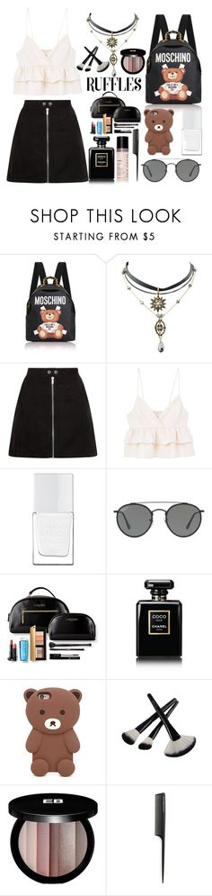 """""""RUFFLES"""" by anabelisstyle ❤ liked on Polyvore featuring Moschino, MANGO, The Hand & Foot Spa, Ray-Ban, Chanel, Forever 21, Edward Bess and GHD"""