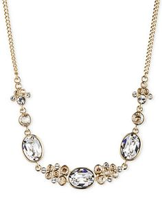 Givenchy Gold-Tone Crystal Frontal Necklace